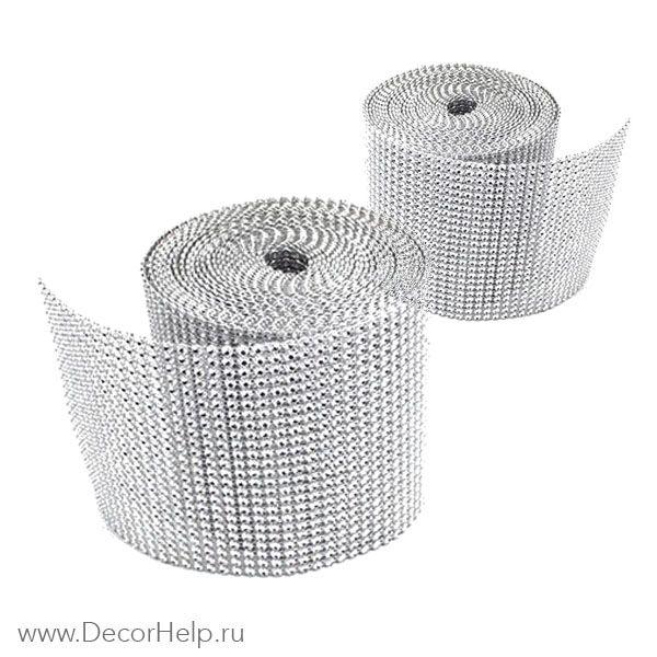 Стразовая лента серебро (2шт)